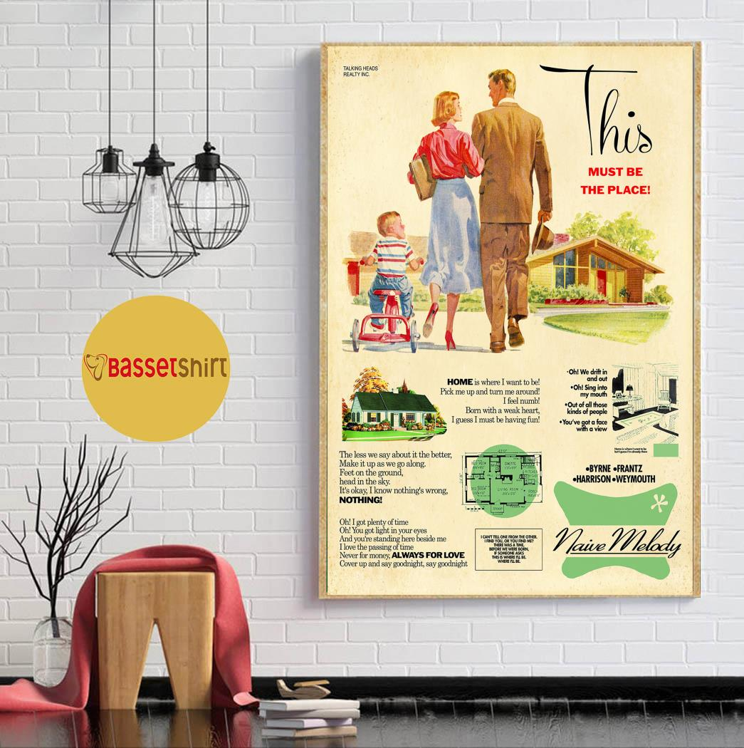 Talking heads this must be the place 1950s housing poster