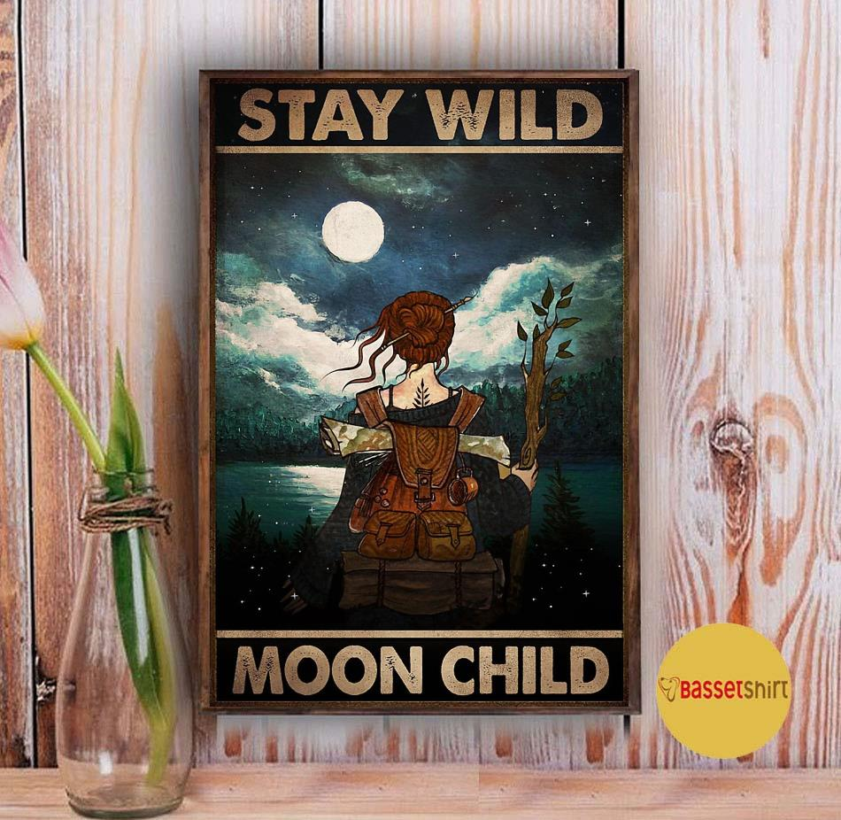 Wander hiking girl stay wild moon child poster Vintage