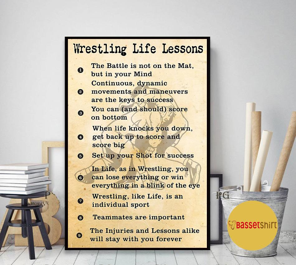 Wrestling life lessons vertical poster canvas art decor