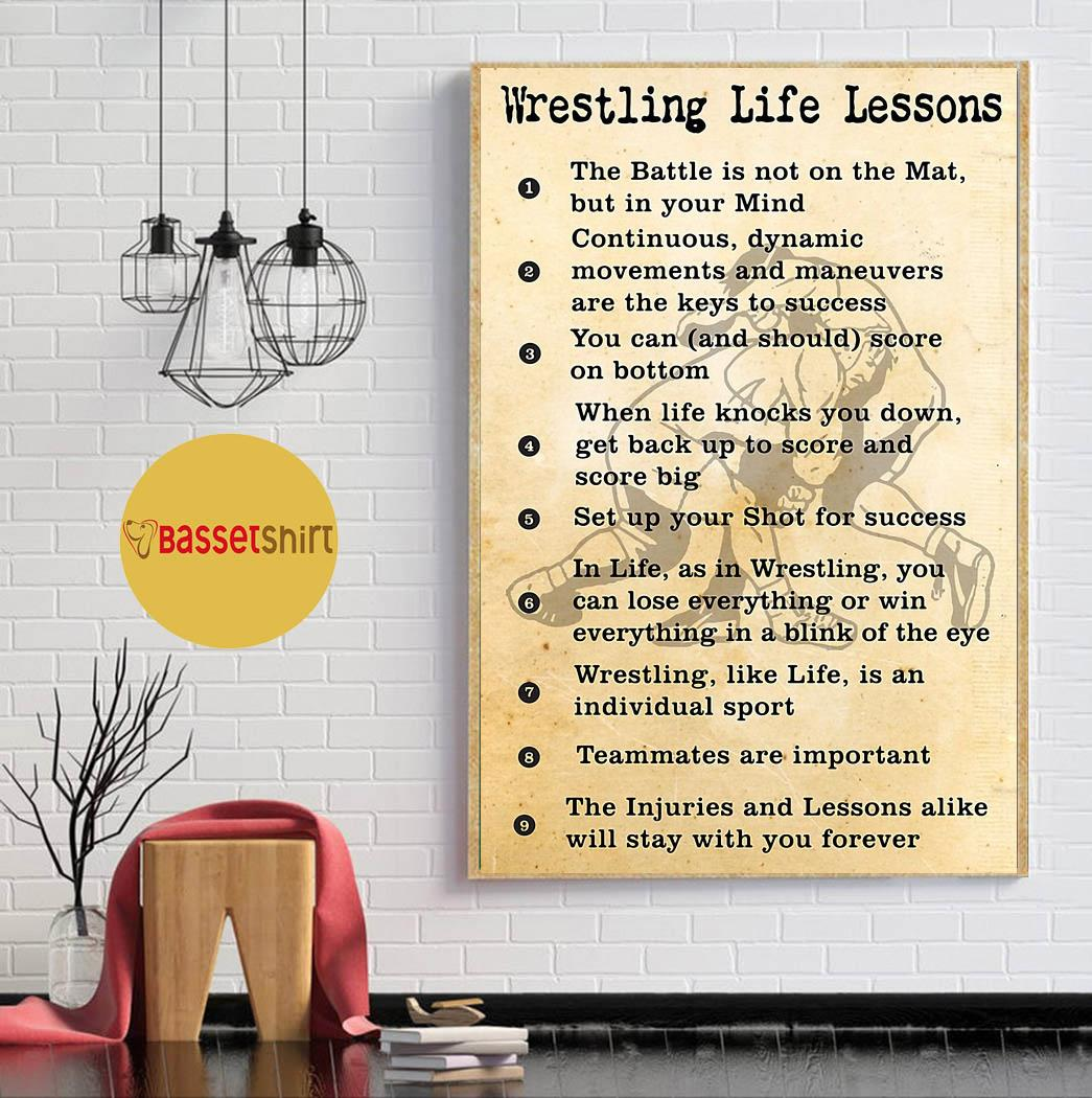 Wrestling life lessons vertical poster canvas