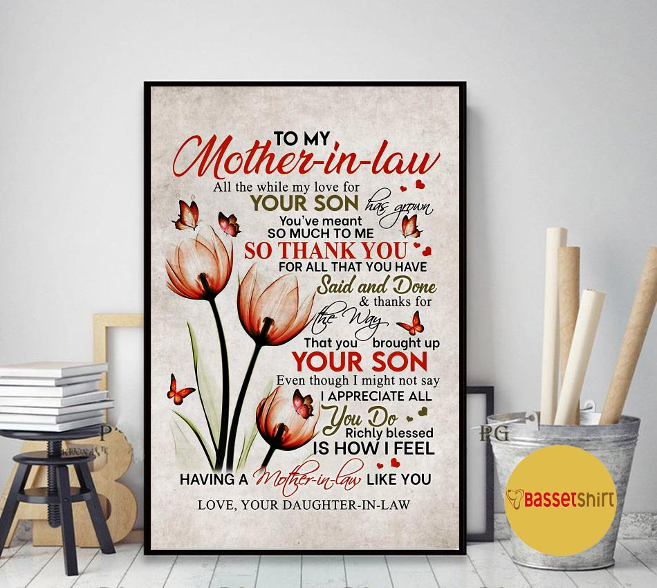 Daughter to mother all the while my love for your son has grown flowers canvas art decor