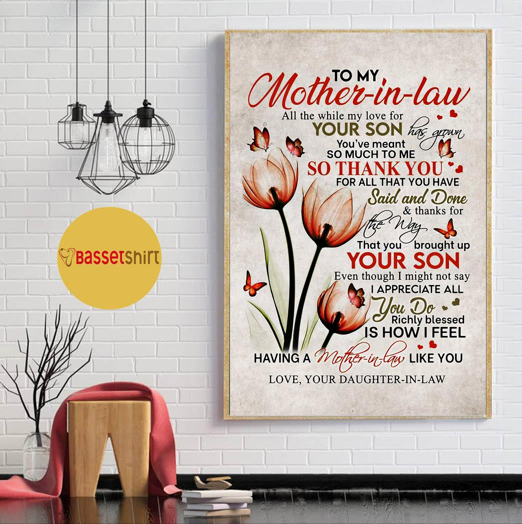 Daughter to mother all the while my love for your son has grown flowers canvas