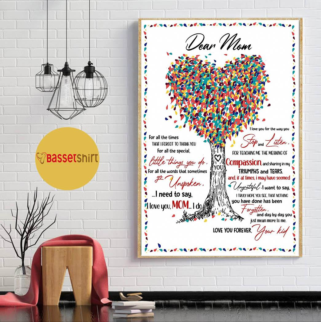 Dear mom for all the times that I forgot coloful tree poster canvas