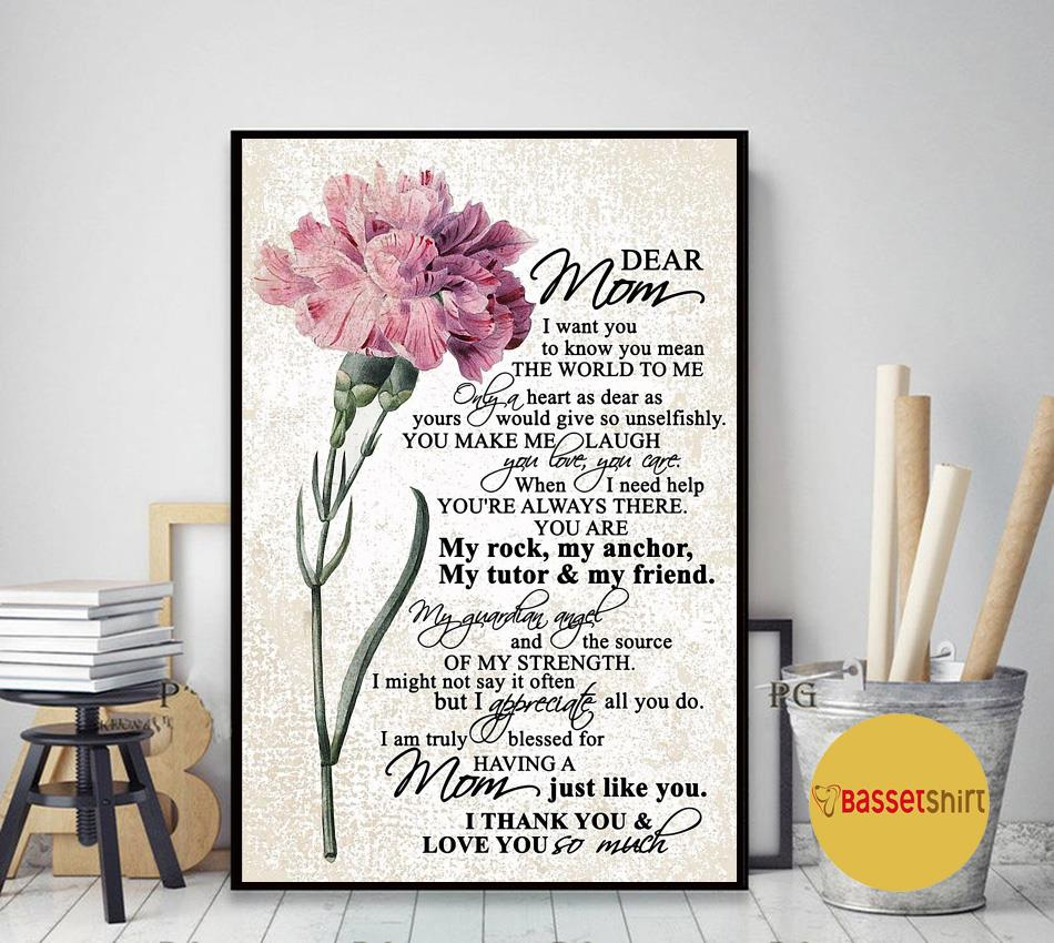 Dear mom I want you to know you mean the world to me poster canvas art decor