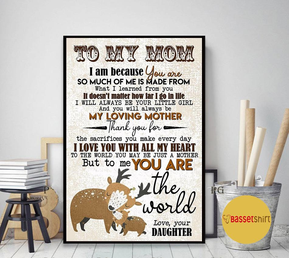 Deer daughter to mom I love you with all my heart canvas art decor