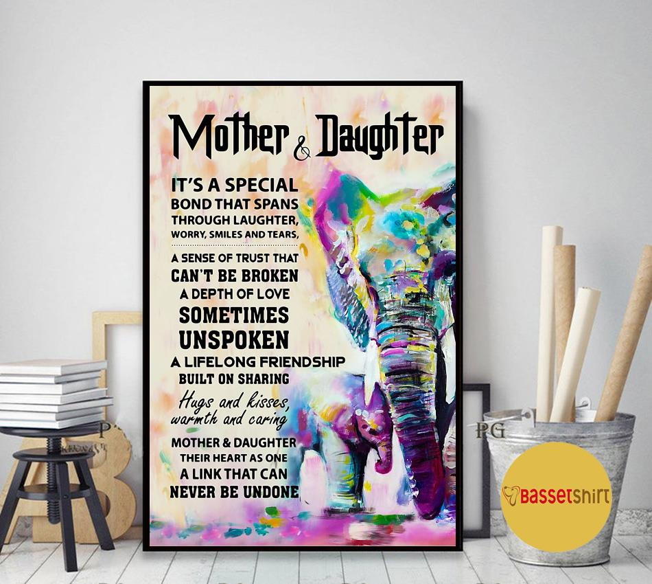 Elephant mother daughter it's a special bond that spans poster canvas art decor