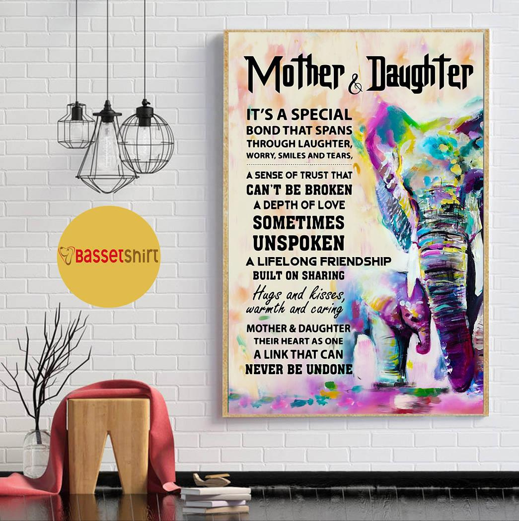 Elephant mother daughter it's a special bond that spans poster canvas