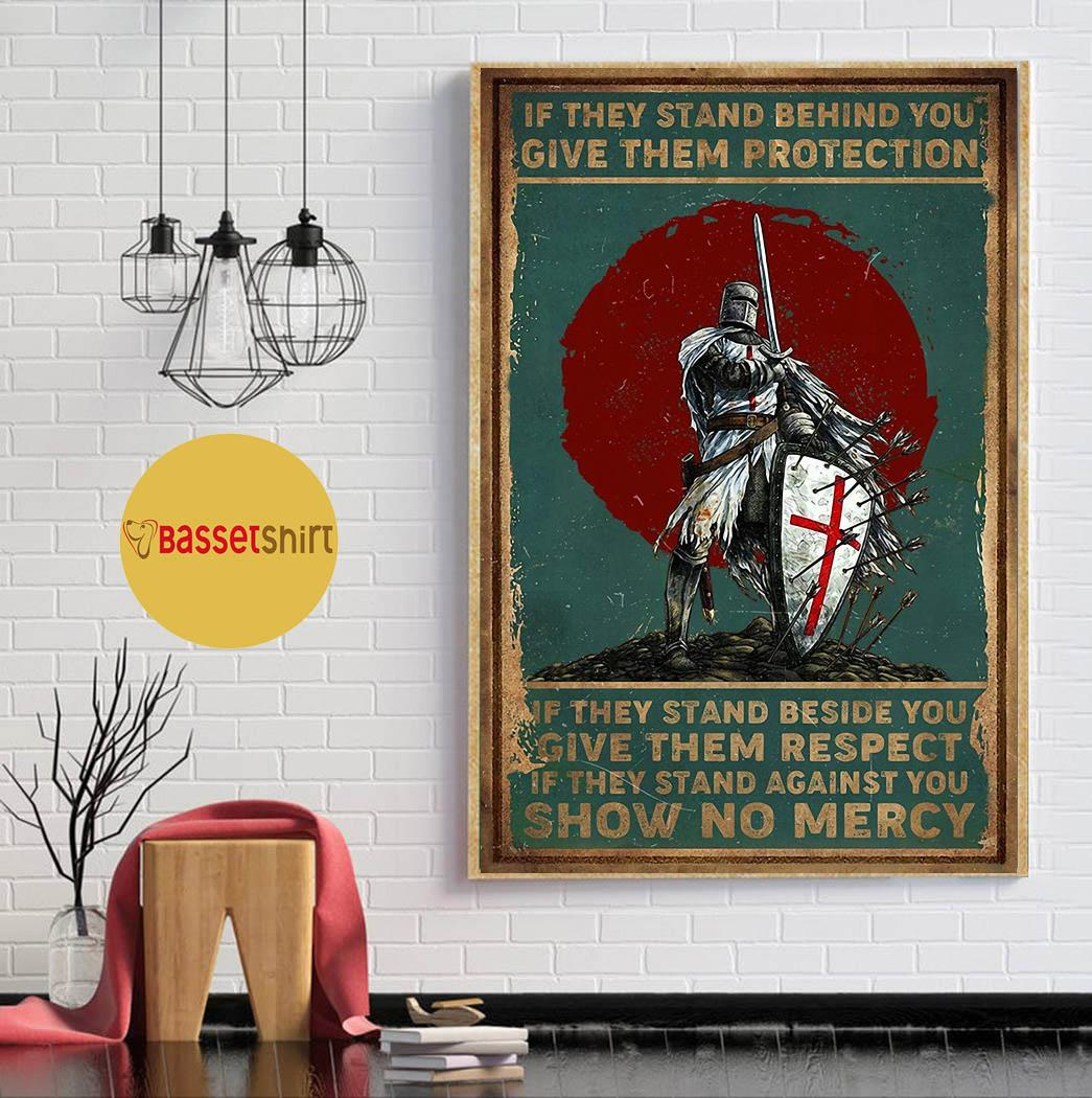 Knights Templar if they stand behind you protect them poster canvas wall