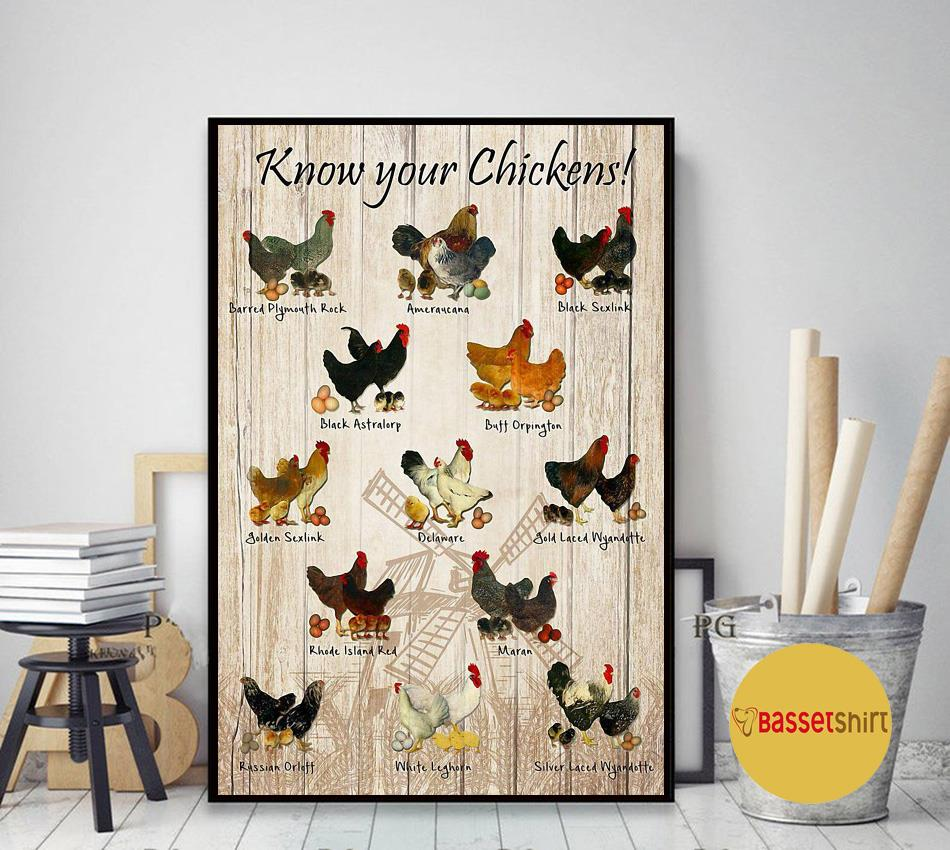 Know your chickens poster canvas