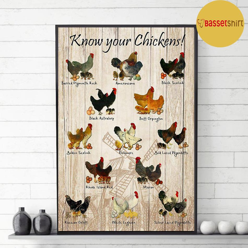 Know your chickens poster canvas decor