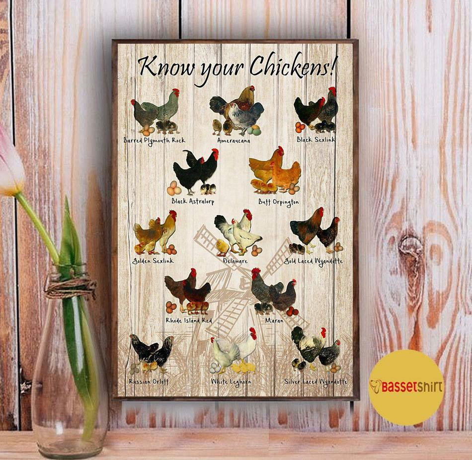 Know your chickens poster canvas Vintage