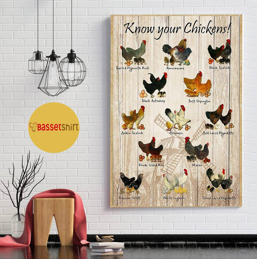 Know your chickens poster canvas wall