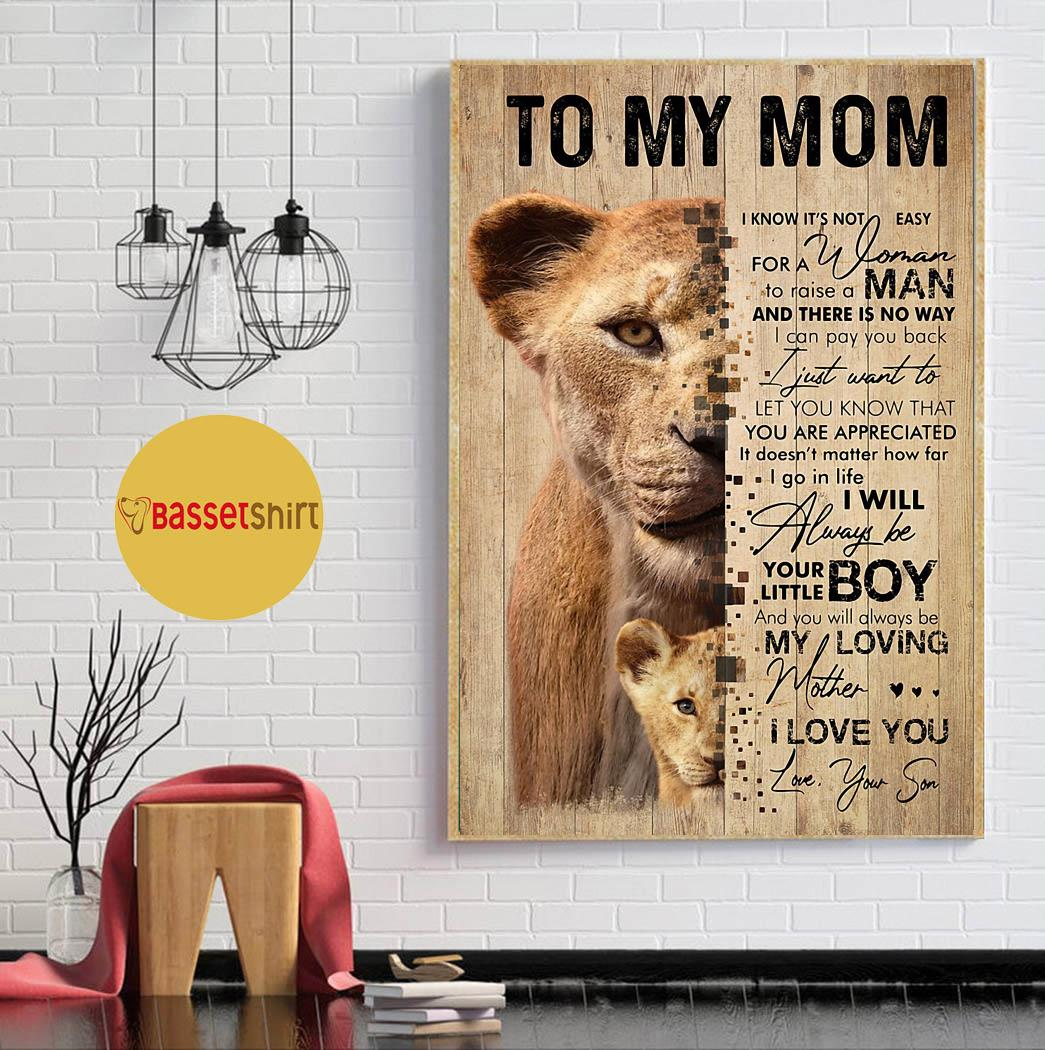 Lion son to my mom I love you poster canvas Mother's Day Gift