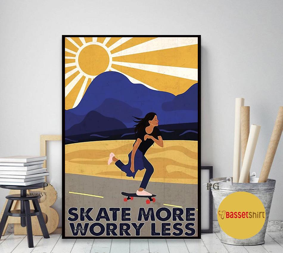 Retro skate more worry less poster canvas