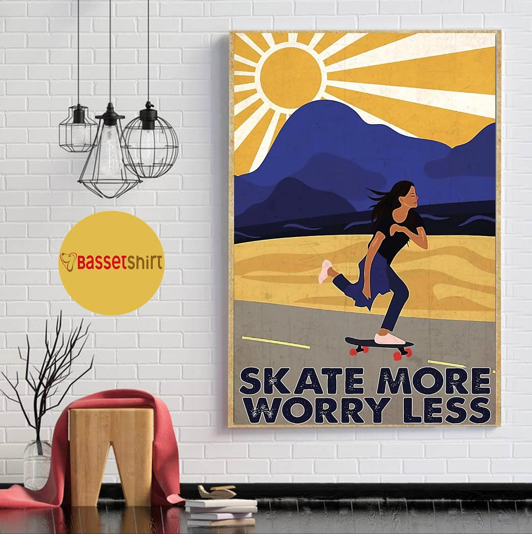 Retro skate more worry less poster canvas wall