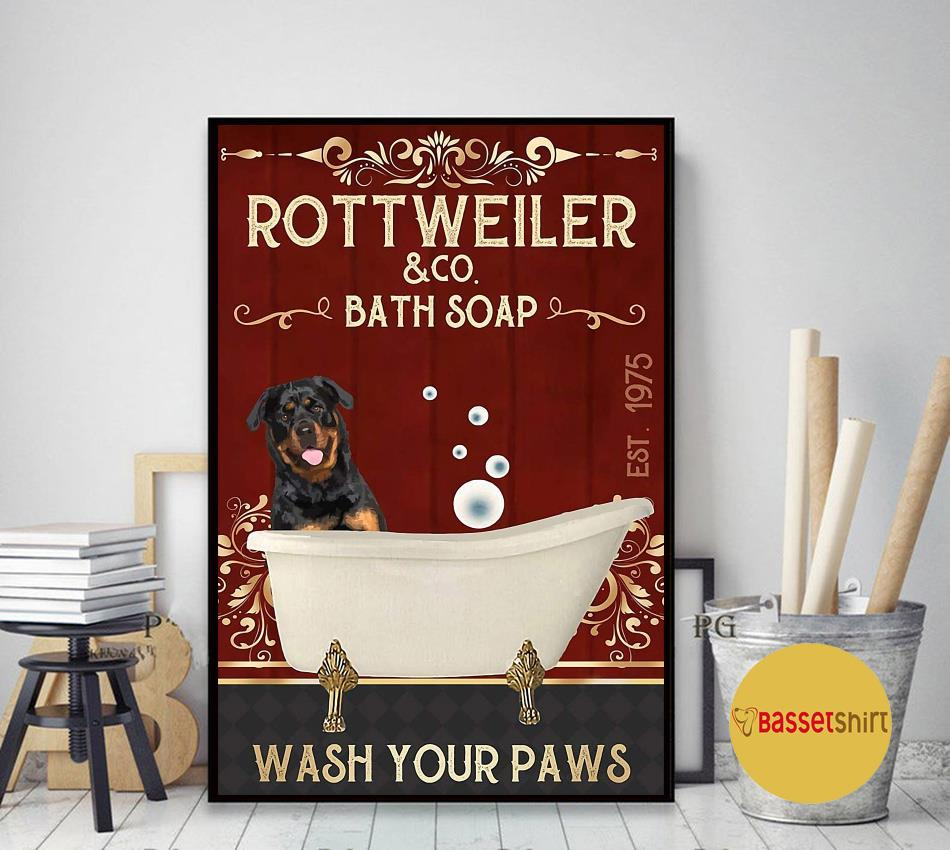 Rottweiler bath soap wash your paws red poster canvas