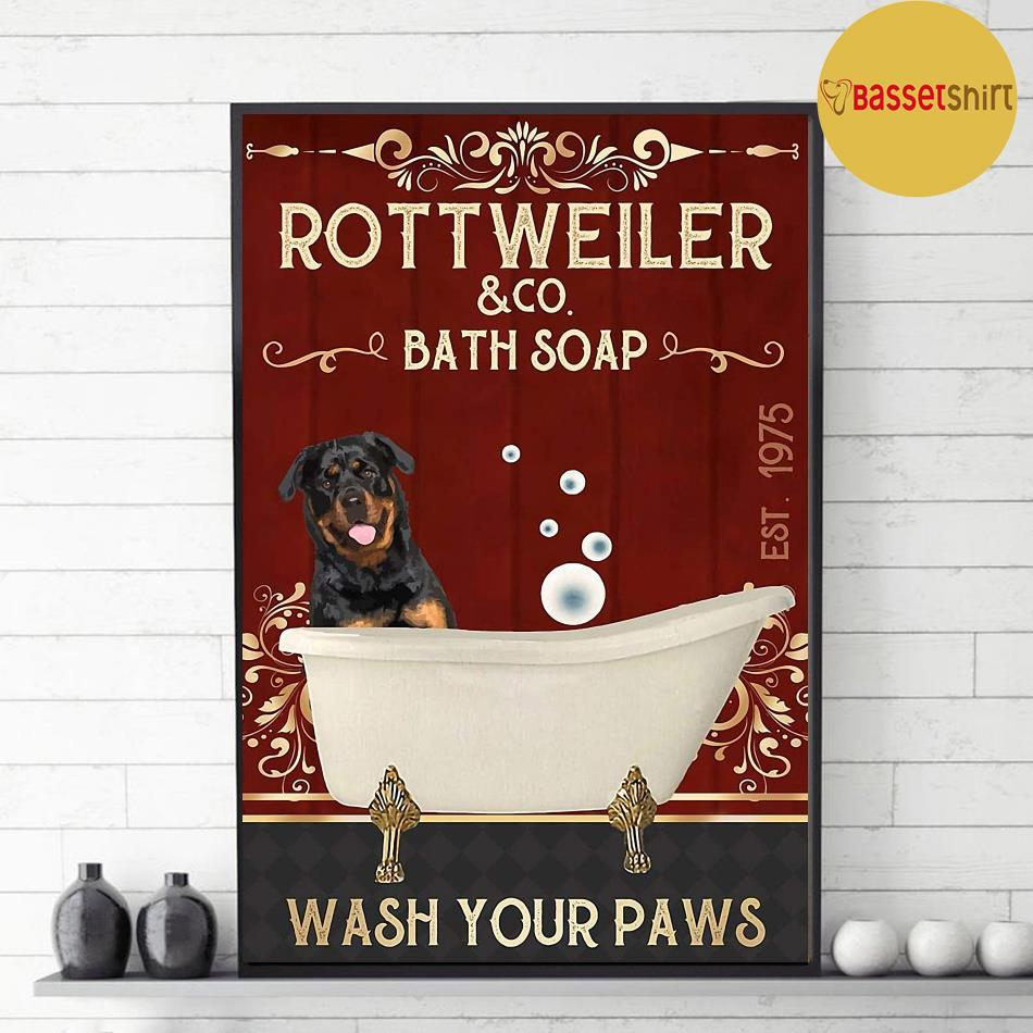 Rottweiler bath soap wash your paws red poster canvas decor