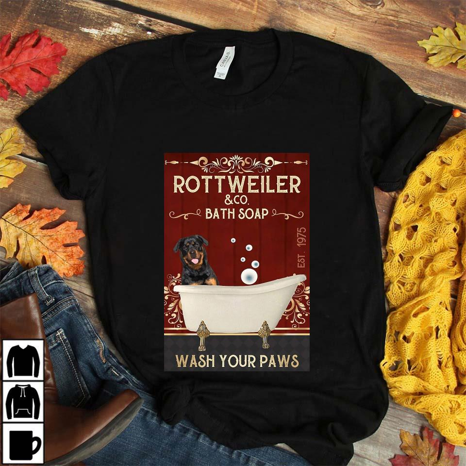 Rottweiler bath soap wash your paws red poster canvas unisex t-shirt