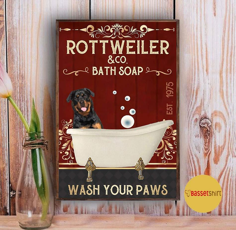 Rottweiler bath soap wash your paws red poster canvas Vintage