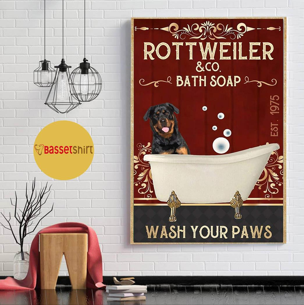 Rottweiler bath soap wash your paws red poster canvas wall