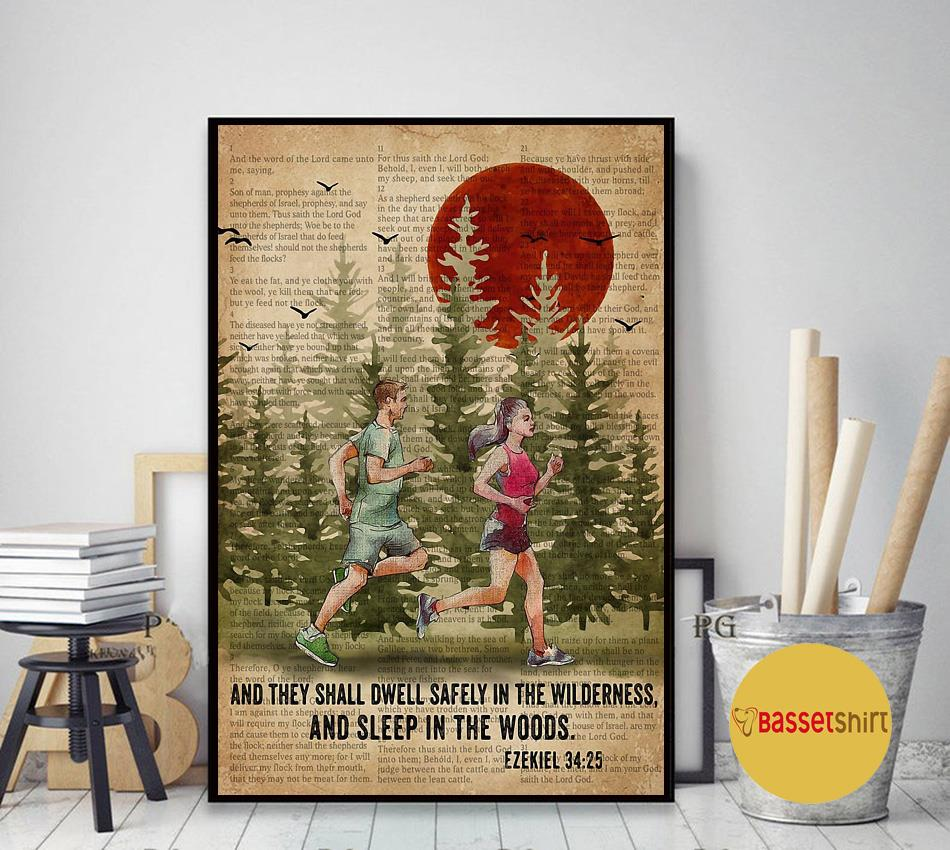 Running couple and they shall dwell safely in the wilderness and sleep in the woods poster