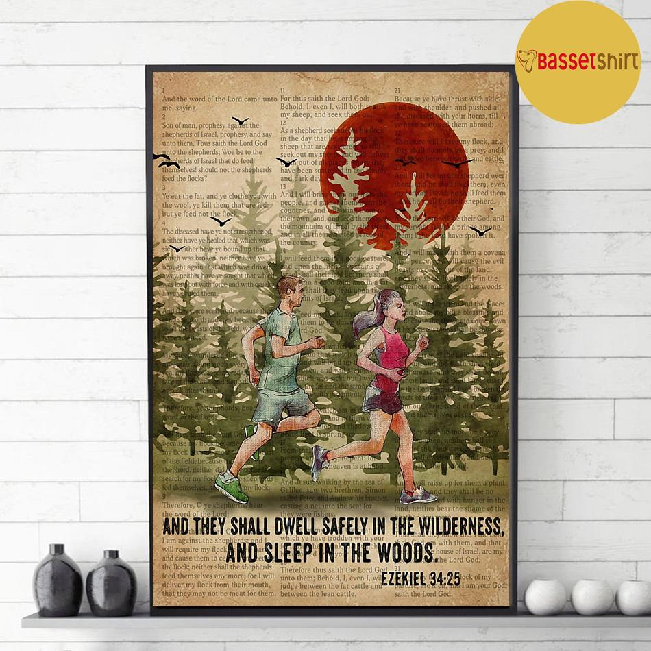 Running couple and they shall dwell safely in the wilderness and sleep in the woods poster decor