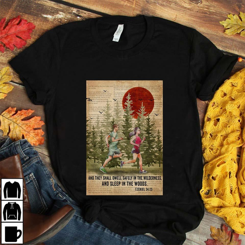 Running couple and they shall dwell safely in the wilderness and sleep in the woods poster unisex t-shirt