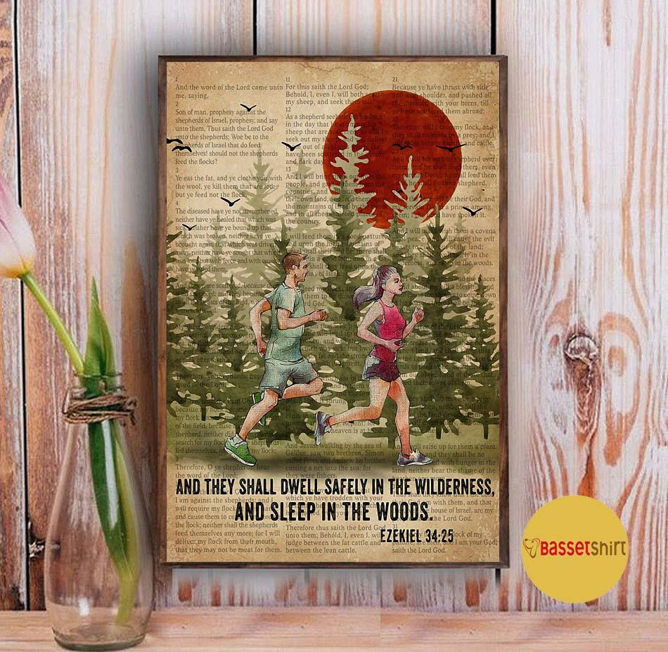 Running couple and they shall dwell safely in the wilderness and sleep in the woods poster Vintage