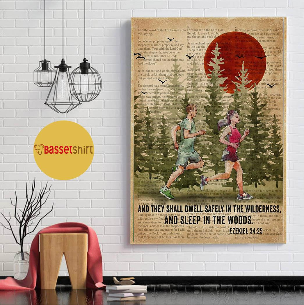 Running couple and they shall dwell safely in the wilderness and sleep in the woods poster wall