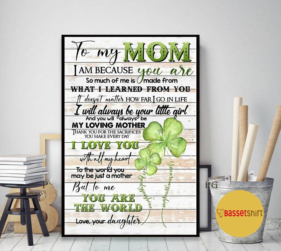To my mom from daughter four-leaf clover poster canvas art decor