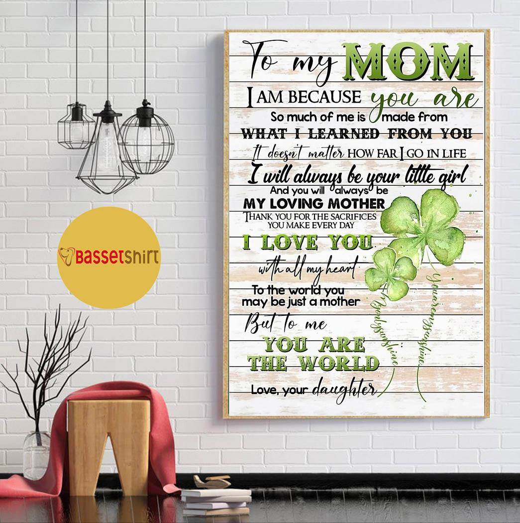 To my mom from daughter four-leaf clover poster canvas