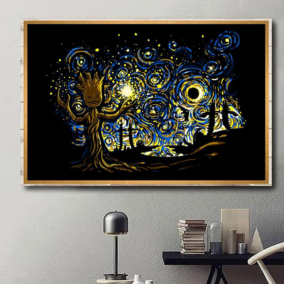 Baby Groot Starry Night poster canvas