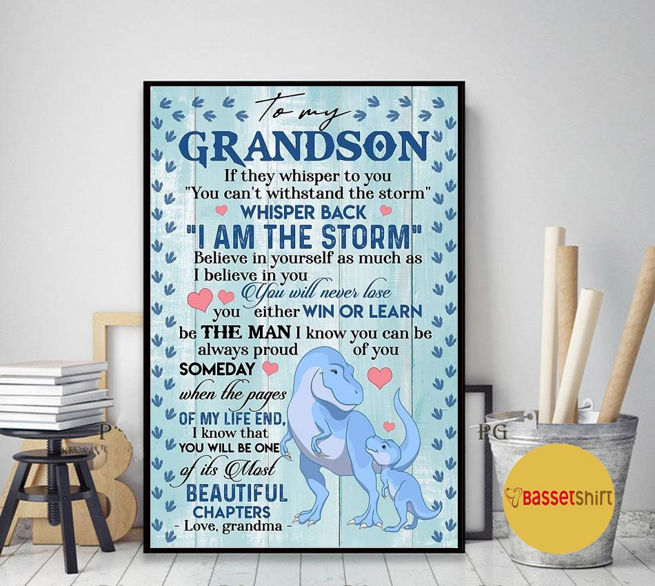 From grandma to my grandson if they whisper to you poster canvas