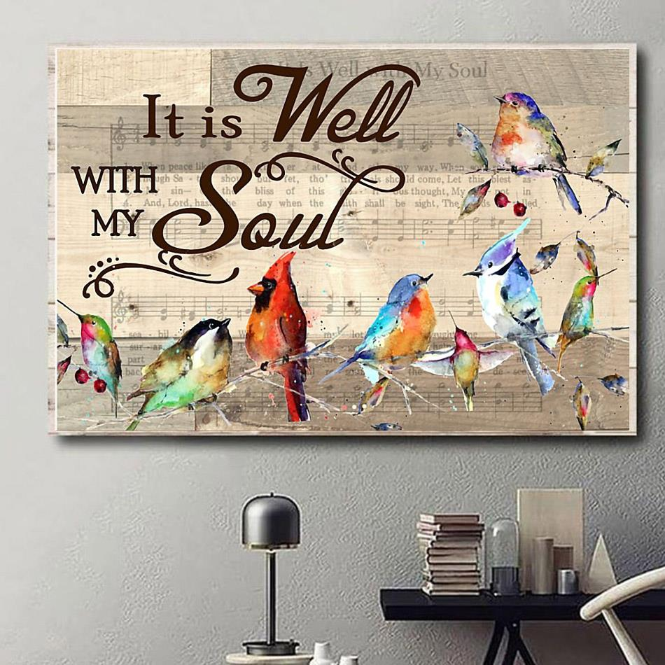Hummingbirds it is well with my soul poster canvas