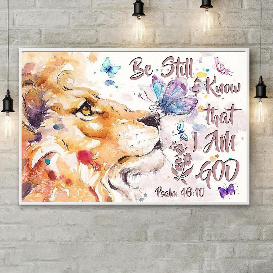 Lion art be still and know that I am God horizontal canvas poster