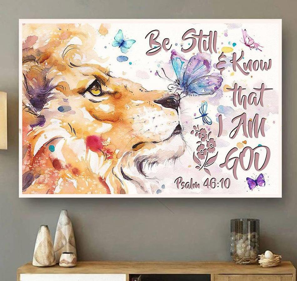 Lion art be still and know that I am God horizontal canvas wall art