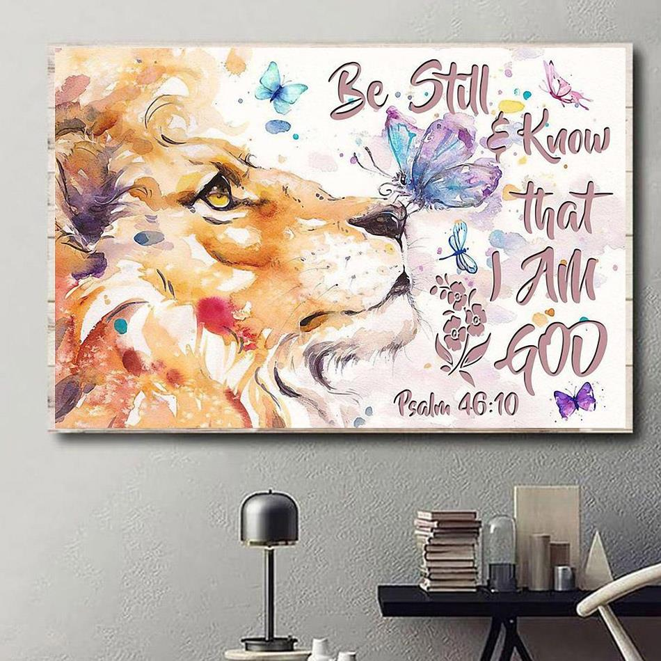 Lion art be still and know that I am God horizontal canvas