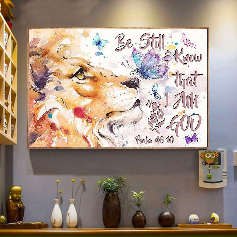 Lion art be still and know that I am God horizontal canvas wrapped canvas