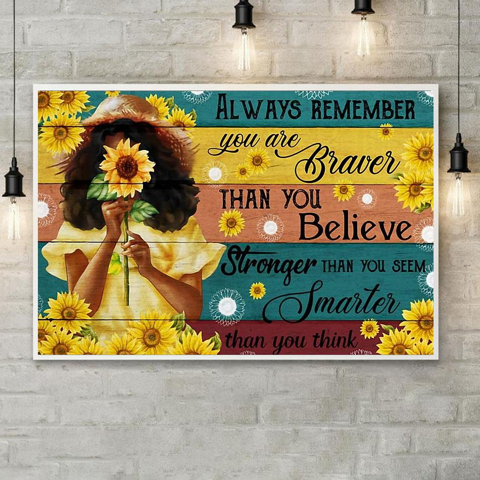 Little girl sunflower always remember you are brave canvas poster