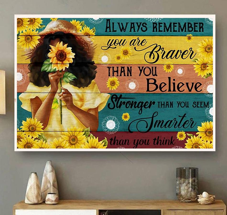 Little girl sunflower always remember you are brave canvas wall art