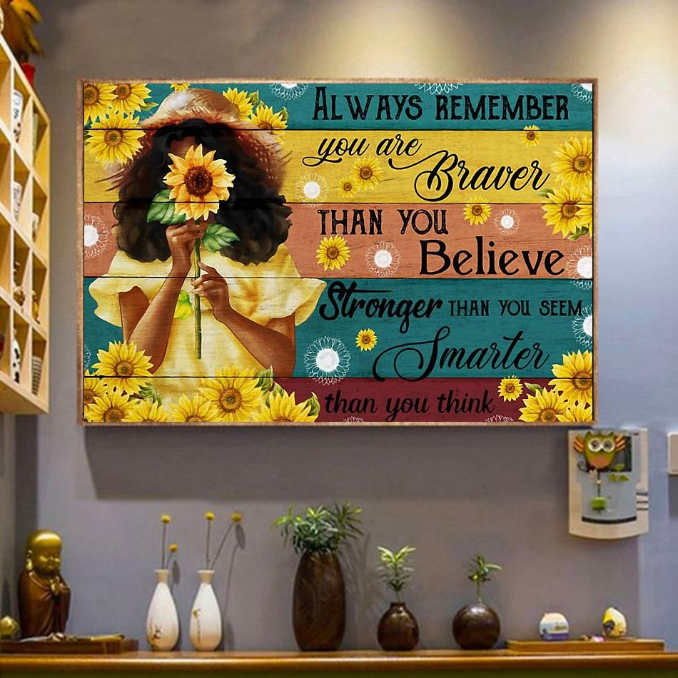Little girl sunflower always remember you are brave canvas wrapped canvas