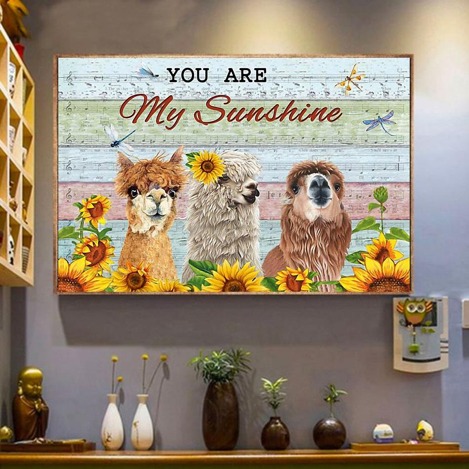 Llama music sheet you are my sunshine print canvas wrapped canvas
