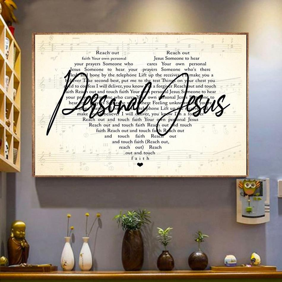 Personal Jesus heart shaped poster canvas wrapped canvas